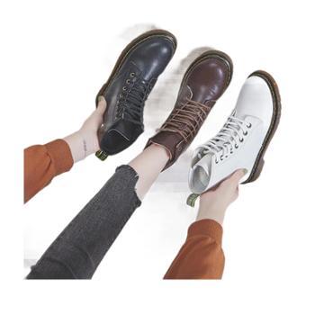 马丁靴女秋季透气百搭学生真皮女士靴子机车靴女短靴帅气