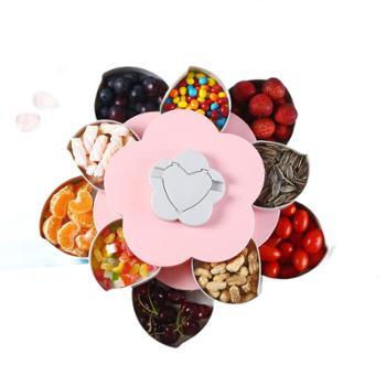 花瓣旋转果盒糖果盘家用客厅干果盒分格带盖零食坚果盒子