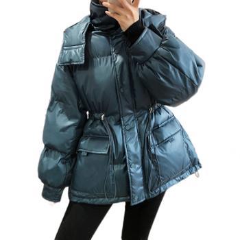 鹿西连帽收腰棉衣女冬季新款羽绒棉服保暖防风面包服棉衣外套933