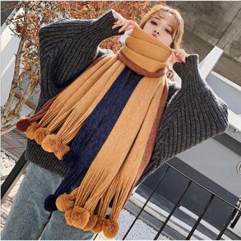韩版秋冬季百搭新款拼色毛球围巾女士长款学生可爱针织毛线围脖潮WM67