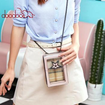 doodoo新款时尚潮流果冻手机包女韩版迷你斜跨单肩女包迷你透明包包新款小挎包D8686-A