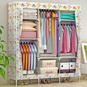 索尔诺简易衣柜大号布衣柜钢管加粗加固钢架衣橱布艺折叠收纳柜