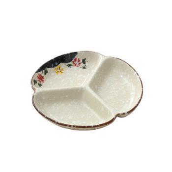 日式陶瓷三格盘餐具多格盘创意小菜盘子家用圆盘分格餐盘菜盘儿童