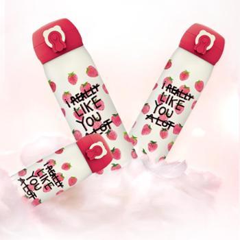 韩国杯具熊(beddybear)草莓杯 情侣保温保冷杯不锈钢杯女生礼品水果粉色系
