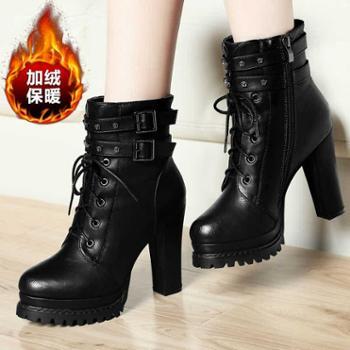 马丁靴女靴子英伦皮鞋加绒粗跟短靴新款百搭高跟鞋冬季女鞋子