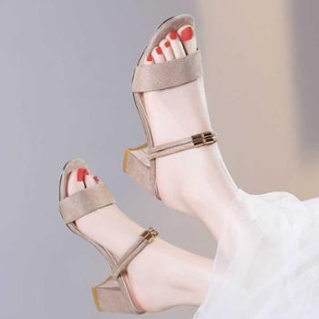 凉拖鞋女夏季时尚两用外穿2018新款韩版百搭粗跟中跟外出凉鞋两穿
