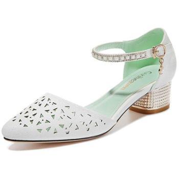 粗跟包头凉鞋新款夏季韩版百搭一字扣中跟女鞋罗马学生高跟鞋8434-1