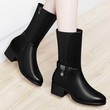 秋季新款马靴女中筒靴粗跟中跟女靴百搭马丁靴英伦风冬季女鞋