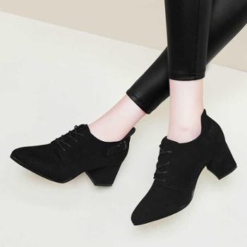 英伦风女鞋子秋季新款中跟系带高跟鞋秋天粗跟单鞋秋鞋小皮鞋9044