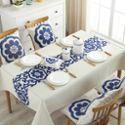 中式家具布艺棉麻桌布家用客厅长方形青花瓷餐桌布台布