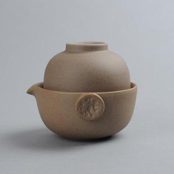 套装复古粗陶窑变快客杯日式功夫茶具茶壶