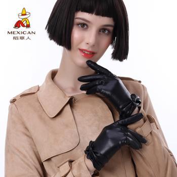 稻草人女士皮手套秋冬季加绒加厚防风骑行韩版保暖分指手套