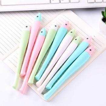 聚点10支装日韩可爱卡通小鱼儿中性笔简约创意彩色杆水笔0.5碳素黑色笔