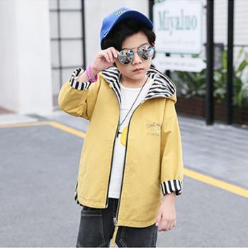 百旅Bailv男童春款条纹两面穿外套中长款