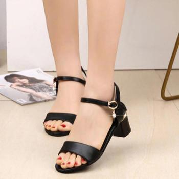 百旅Bailv夏季新款凉鞋女鞋夏季低跟韩版空露趾方跟PU橡胶胶粘鞋