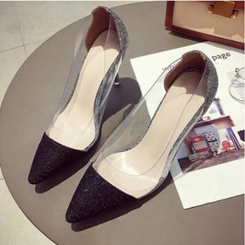 百旅Bailv水晶亮片黑色高跟鞋细跟尖头银色单鞋女鞋浅口新娘鞋婚鞋