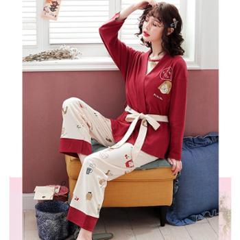 百旅Bailv月子服三件套装孕妇哺乳睡衣夏薄款产后纯棉家居服喂奶衣
