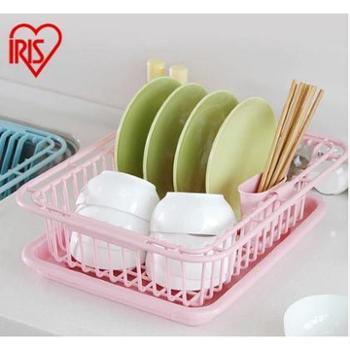 爱丽思IRIS 厨房水槽沥水篮 塑料碗碟架 沥水架带筷子笼KM-36AG
