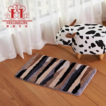 感受生活家居超细纤维条纹浴室防滑地垫脚垫手工地毯工厂直销*