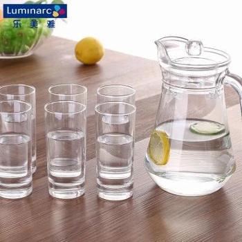 乐美雅鸭嘴壶优质水具套装玻璃杯直身杯水壶饮具七件套