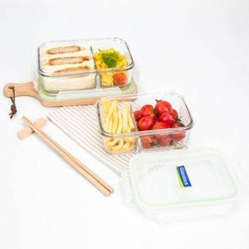 Glasslock韩国进口分隔耐热玻璃保鲜盒饭盒微波炉920mlMCRK-092-920ML-92-浅绿色