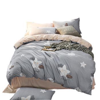 宁好斜纹绒加棉四件套床品1.8m双人床上用品全棉被套床单三件套2.0