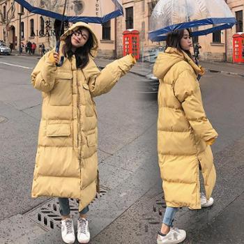 艾罗莱长款过膝面包服新款韩版宽松bf冬装加厚棉衣潮