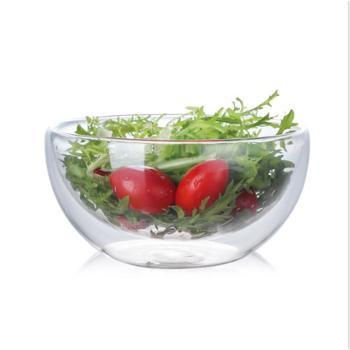 双层玻璃碗手工吹制高硼硅沙拉碗蔬菜甜品碗冰激凌碗2个装!