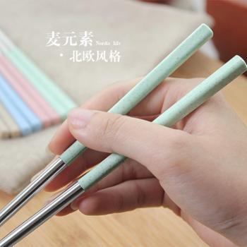 创意304不锈钢筷子8双套装5家用家庭装防霉长铁筷子金属酒店餐具