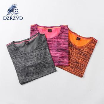 Dzrzvd 运动T恤跑步速干透气情侣瑜珈健身短袖夏季女装