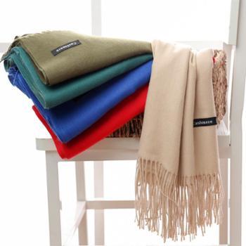 韩版秋冬新款加厚保暖两用大披肩长款仿羊绒围巾女士纯色百搭围脖