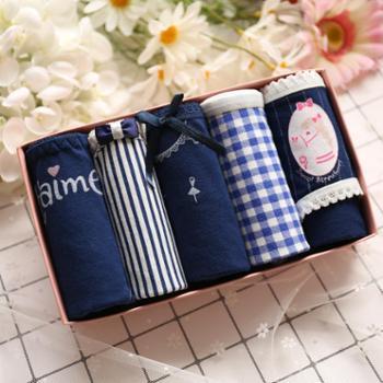 新款五条礼盒装纯棉女士内裤 可爱全棉蕾丝性感少女三角裤非抗菌