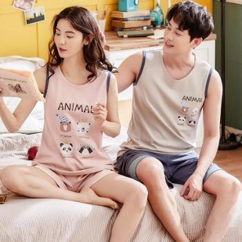 夏季情侣睡衣女背心短裤纯棉无袖两件套装男士家居服韩版可爱卡通