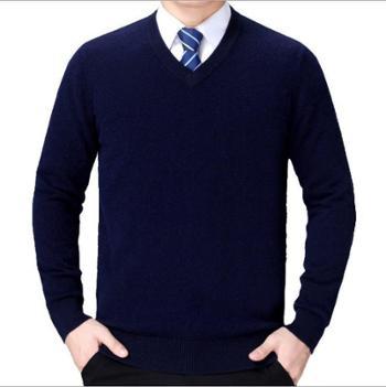 寻爵男士毛衣打底商务休闲中年保暖V领羊毛衫男装
