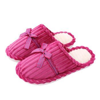 宝信 韩版秋冬季丝带实灯芯绒男女情侣室内居家居木地板防滑保暖棉拖鞋