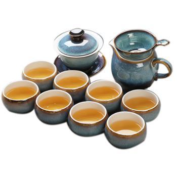 苏氏陶瓷茶具银丝窑变釉茶碗茶杯13头功夫茶碗套组