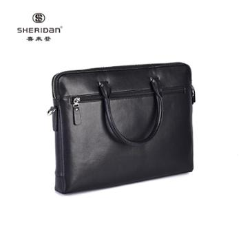 Sheridan喜来登头层牛皮商务男士黑色时尚手提包NL171239S