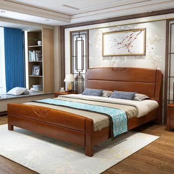 全实木床1.8米橡木床双人简约中式家具高箱储物婚床