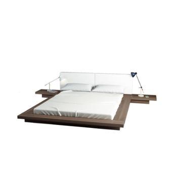 实木橡木床简约北欧板式床现代日式榻榻米床双人床软靠背床