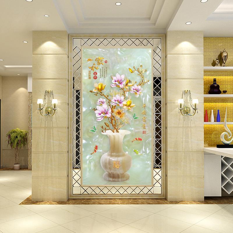 走廊3D现代中式背景墙瓷砖玄关过道壁画图片