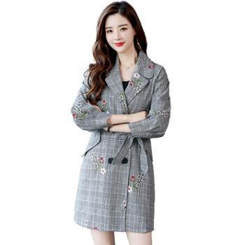 沫沫依莉中长款格子风衣女春季新款韩版气质翻领双排扣外套HSZMA1868