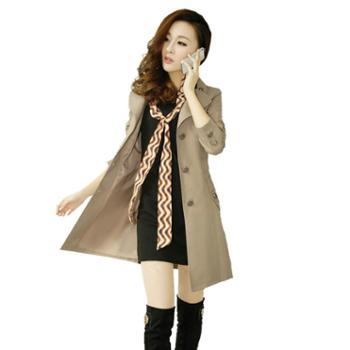 沫依莉2019新款纯色中长款风衣女装翻领单排扣收腰通勤外套配丝巾YJZY2081