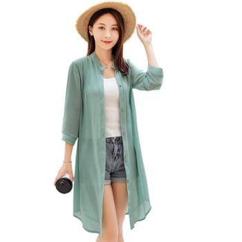 沫沫依莉2019夏季新款时尚休闲纯色防晒衣舒适透气空调雪纺GYL5205