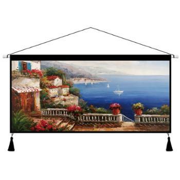 南恩布艺 家纺家饰 爱琴海欧式风景抽象挂毯卧室客厅书房墙壁画床头装饰布艺挂画挂布 包邮