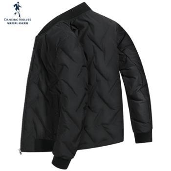 与狼共舞羽绒服男士短款韩版潮流2019冬季轻薄男装棒球服外套