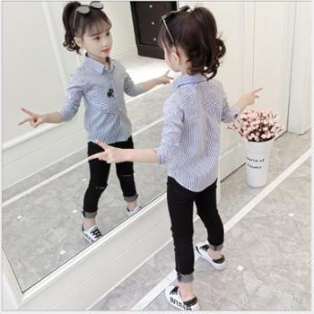 翻领条纹女童衬衫韩版中大童洋气儿童衬衣长袖