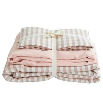 青九纺日式水洗棉四件套全棉裸睡柔纯棉简约格子床单被套床上用品套件