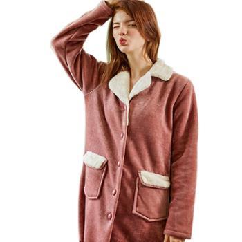 菲蜜莉新品珊瑚绒夹棉情侣睡衣休闲开衫长袖女保暖加厚法兰绒男家居服