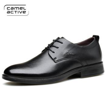 骆驼动感男鞋春季男士商务正装皮鞋男韩版真皮青年尖头黑色鞋