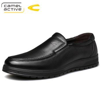 骆驼动感商务男士皮鞋真皮懒人休闲鞋 软皮一脚蹬中年爸爸鞋19587